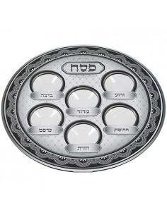 Assiette de Pessah en carton avec plastique gris de 38 cm