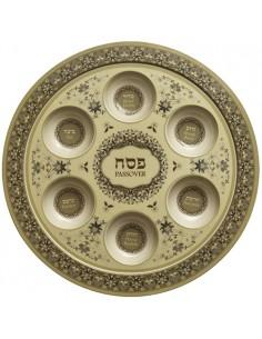 """Assiette de Pessah modèle """"Bambou"""" beige 35 cm"""