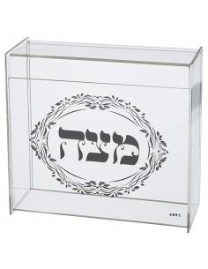 Boite à matsa en plexiglas transparent avec décoration 21X23 cm