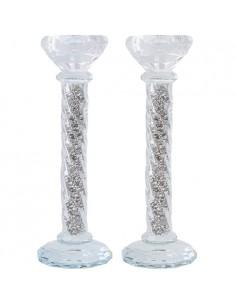 """Une paire de bougeoirs en cristal fantaisie """"pierres d'argent"""" 22 cm"""