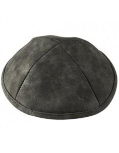 Kippa en cuir gris clair 19 cm