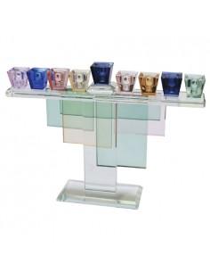Hanoukia en cristal coloré