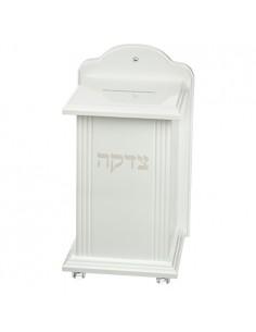 boîte de charité en bois blanc